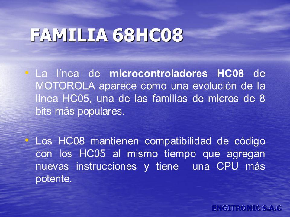 La línea de microcontroladores HC08 de MOTOROLA aparece como una evolución de la línea HC05, una de las familias de micros de 8 bits más populares. Lo
