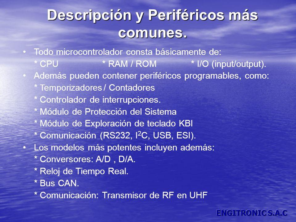 Descripción y Periféricos más comunes. Todo microcontrolador consta básicamente de: * CPU * RAM / ROM * I/O (input/output). Además pueden contener per