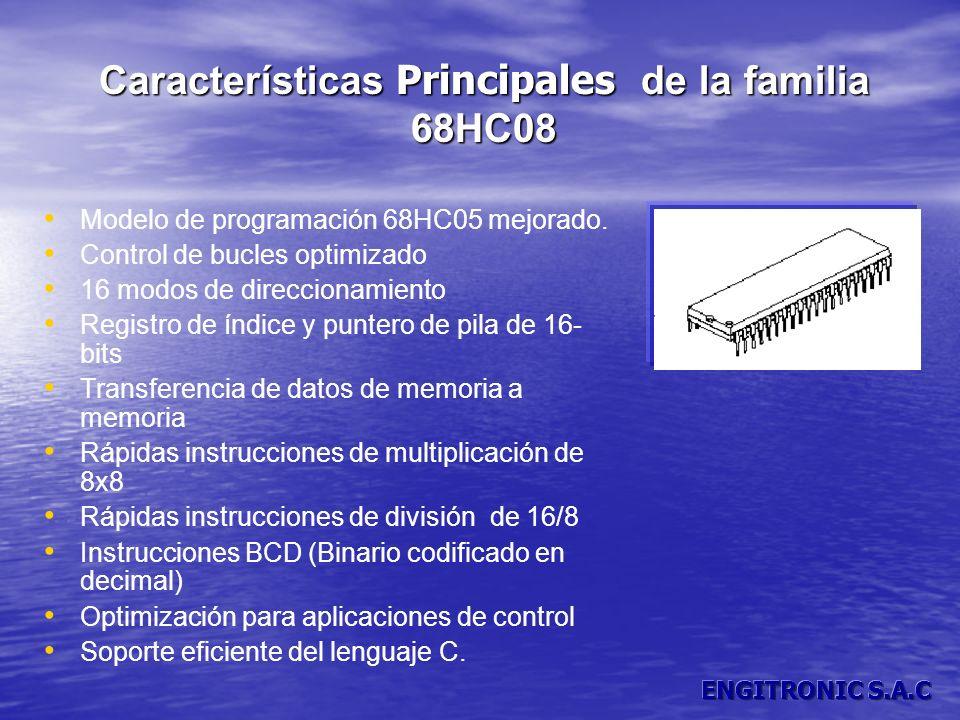 Características Principales de la familia 68HC08 Modelo de programación 68HC05 mejorado. Control de bucles optimizado 16 modos de direccionamiento Reg