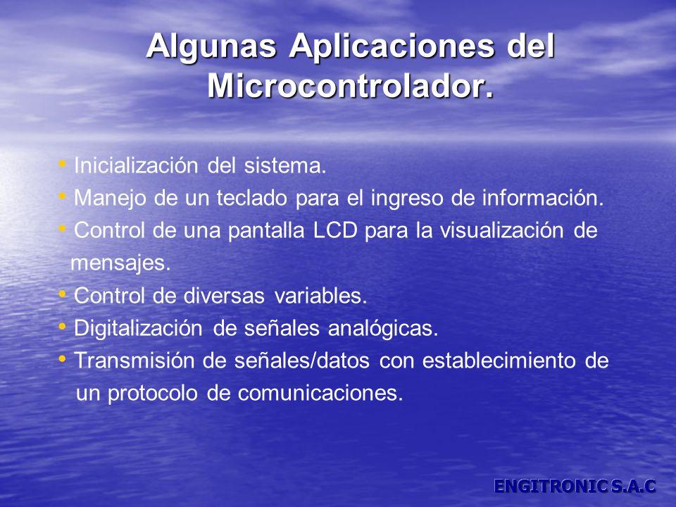 Algunas Aplicaciones del Microcontrolador. Inicialización del sistema. Manejo de un teclado para el ingreso de información. Control de una pantalla LC
