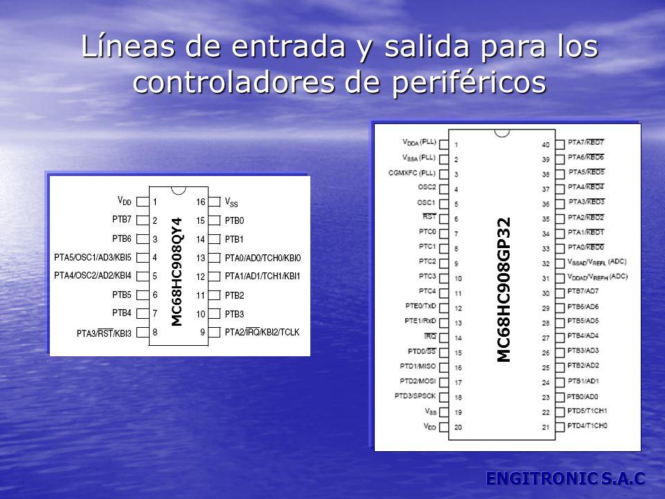 Líneas de entrada y salida para los controladores de periféricos MC68HC908GP32 MC68HC908QY4