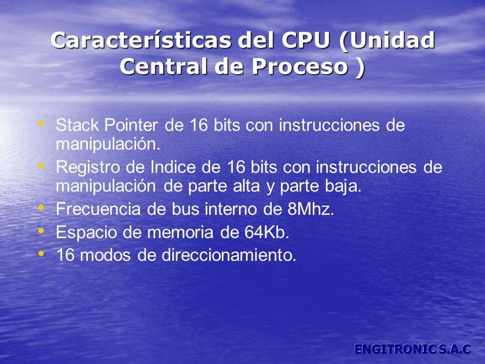 Características del CPU (Unidad Central de Proceso ) Stack Pointer de 16 bits con instrucciones de manipulación. Registro de Indice de 16 bits con ins