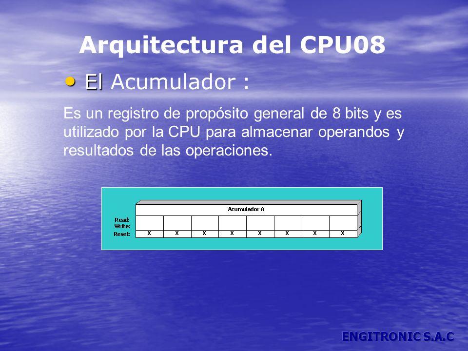 Arquitectura del CPU08 El El Acumulador : Es un registro de propósito general de 8 bits y es utilizado por la CPU para almacenar operandos y resultado