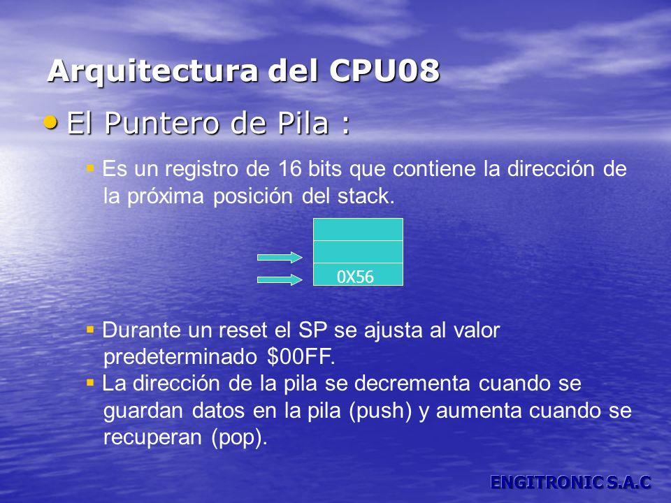El Puntero de Pila : El Puntero de Pila : Es un registro de 16 bits que contiene la dirección de la próxima posición del stack. Durante un reset el SP