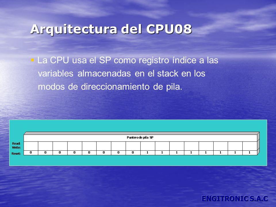 Arquitectura del CPU08 La CPU usa el SP como registro índice a las variables almacenadas en el stack en los modos de direccionamiento de pila.