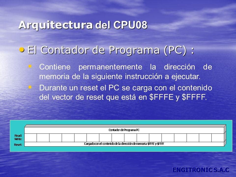 Arquitectura del CPU08 Contiene permanentemente la dirección de memoria de la siguiente instrucción a ejecutar. Durante un reset el PC se carga con el