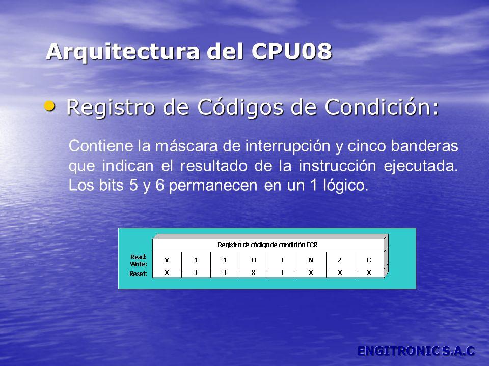 Registro de Códigos de Condición: Registro de Códigos de Condición: Arquitectura del CPU08 Contiene la máscara de interrupción y cinco banderas que in