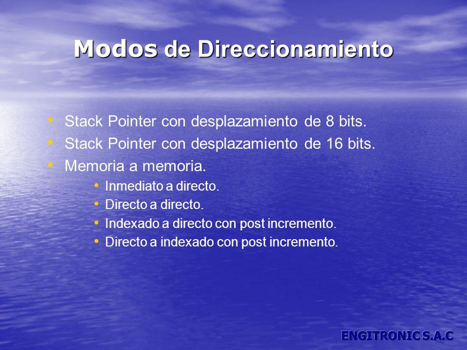 Modos de Direccionamiento Stack Pointer con desplazamiento de 8 bits. Stack Pointer con desplazamiento de 16 bits. Memoria a memoria. Inmediato a dire