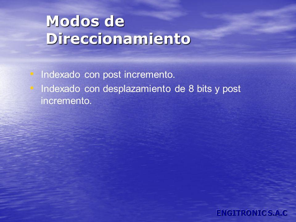 Modos de Direccionamiento Indexado con post incremento. Indexado con desplazamiento de 8 bits y post incremento.