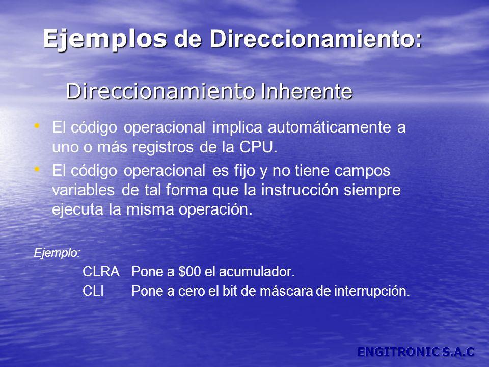 Direccionamiento Inherente Direccionamiento Inherente El código operacional implica automáticamente a uno o más registros de la CPU. El código operaci