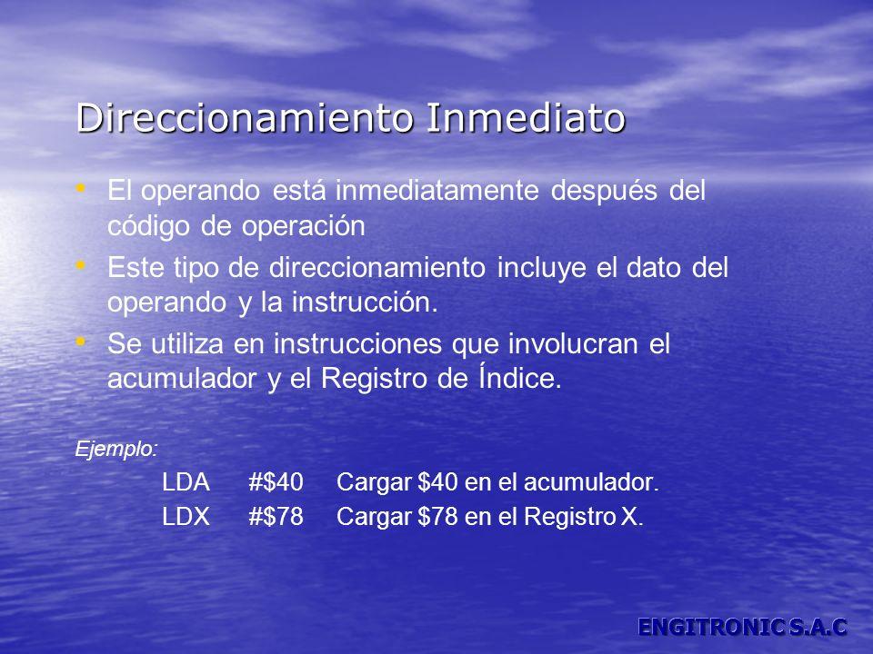 Direccionamiento Inmediato El operando está inmediatamente después del código de operación Este tipo de direccionamiento incluye el dato del operando