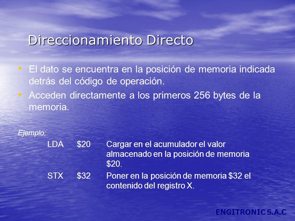 Direccionamiento Directo El dato se encuentra en la posición de memoria indicada detrás del código de operación. Acceden directamente a los primeros 2