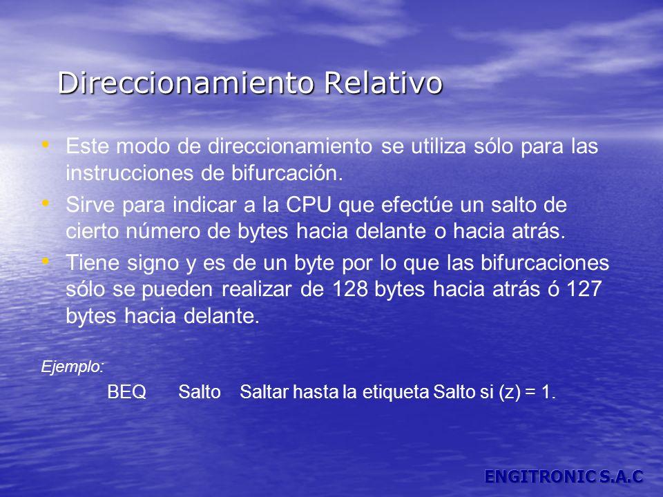 Direccionamiento Relativo Este modo de direccionamiento se utiliza sólo para las instrucciones de bifurcación. Sirve para indicar a la CPU que efectúe