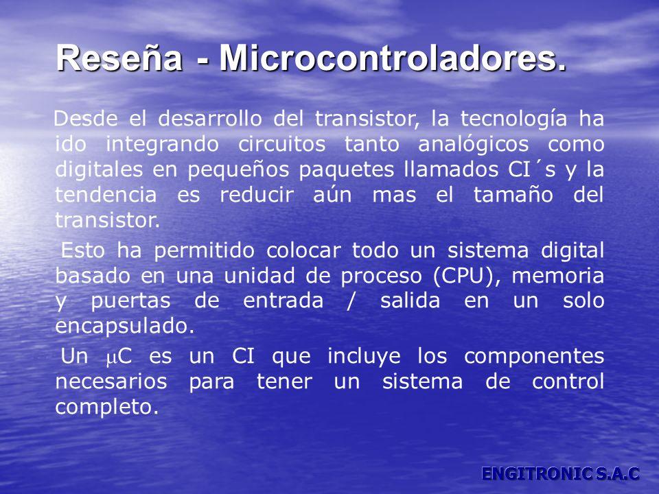 Reseña - Microcontroladores. Reseña - Microcontroladores. Desde el desarrollo del transistor, la tecnología ha ido integrando circuitos tanto analógic