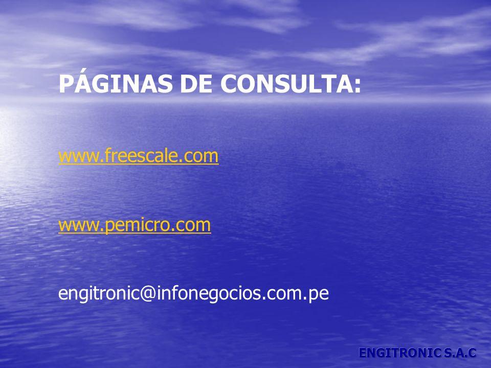 PÁGINAS DE CONSULTA: www.freescale.com www.pemicro.com engitronic@infonegocios.com.pe