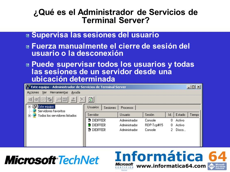 ¿Qué es el Administrador de Servicios de Terminal Server.