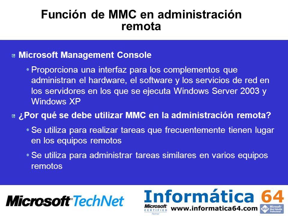 Función de MMC en administración remota Microsoft Management Console Proporciona una interfaz para los complementos que administran el hardware, el software y los servicios de red en los servidores en los que se ejecuta Windows Server 2003 y Windows XP ¿Por qué se debe utilizar MMC en la administración remota.