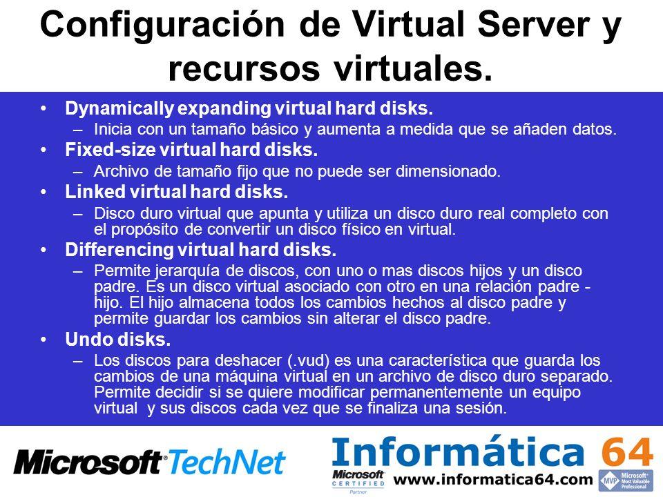 Configuración de Virtual Server y recursos virtuales. Dynamically expanding virtual hard disks. –Inicia con un tamaño básico y aumenta a medida que se