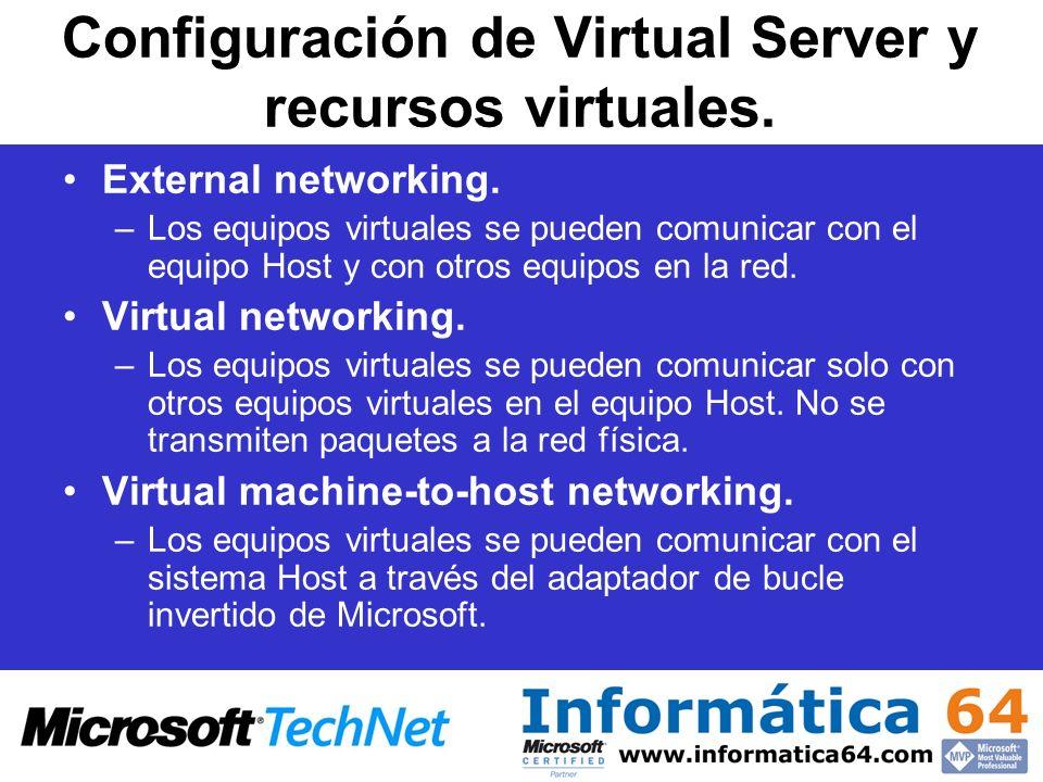 Configuración de Virtual Server y recursos virtuales. External networking. –Los equipos virtuales se pueden comunicar con el equipo Host y con otros e