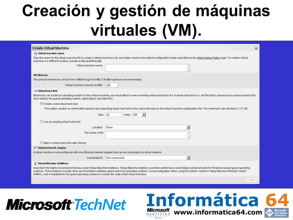 Creación y gestión de máquinas virtuales (VM).