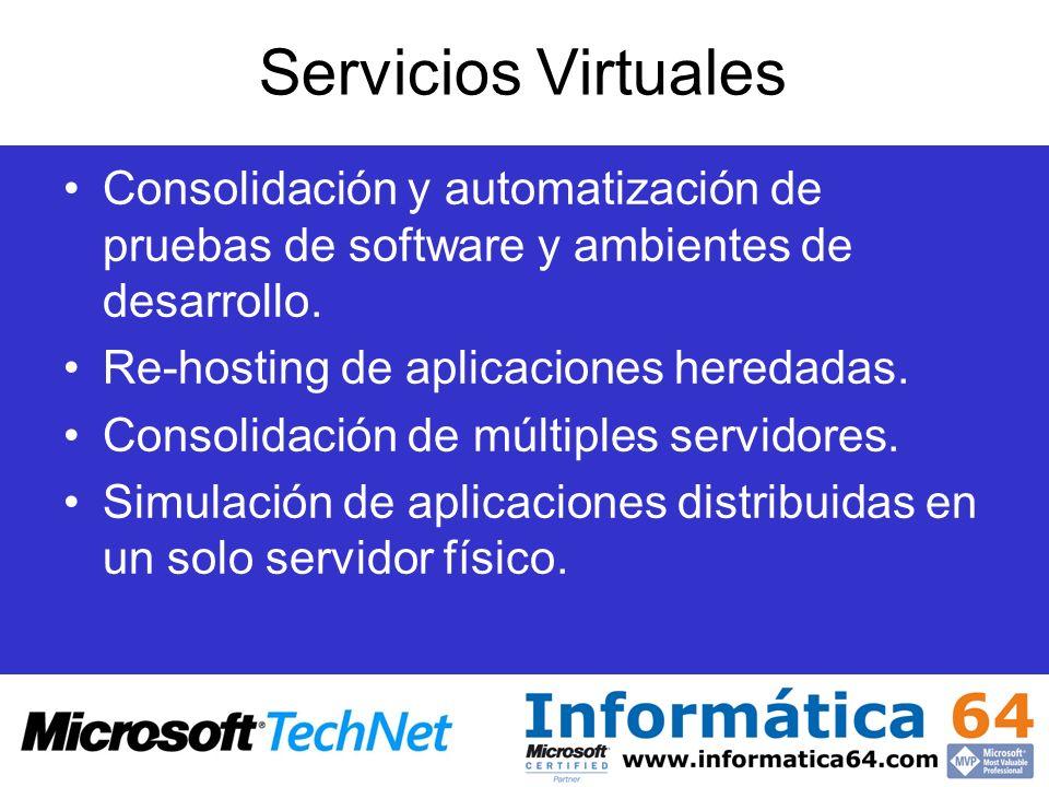 Arquitectura de Virtual Server 2005 Sistema Operativo Host (Windows Server 2003) Virtual Server 2005 provee una capa virtual que gestiona las máquinas virtuales proporcionando la infraestructura de software para la emulación de hardware.