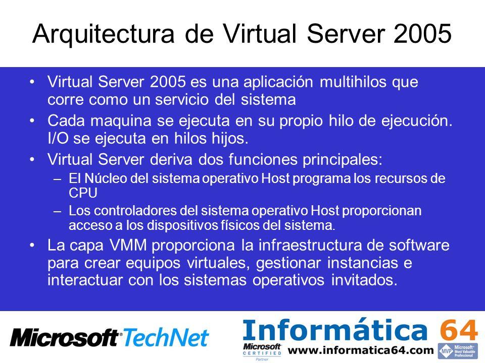 Virtual Server 2005 es una aplicación multihilos que corre como un servicio del sistema Cada maquina se ejecuta en su propio hilo de ejecución. I/O se