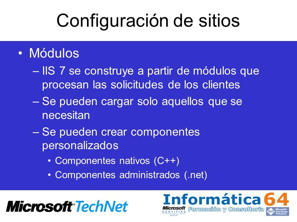 Configuración de sitios Módulos –IIS 7 se construye a partir de módulos que procesan las solicitudes de los clientes –Se pueden cargar solo aquellos q