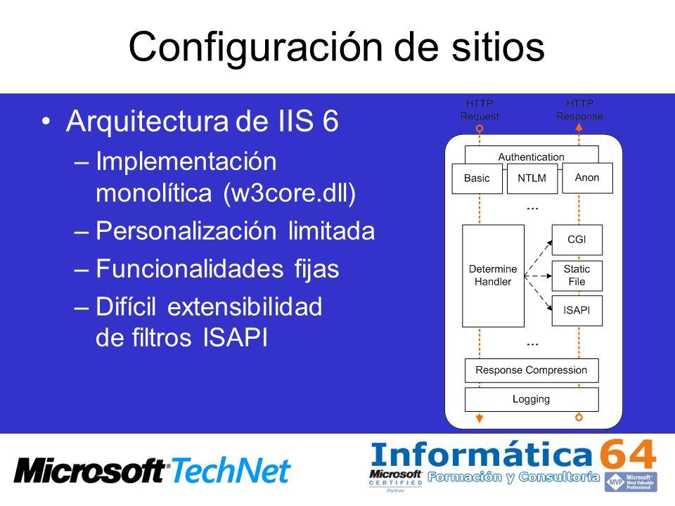 Configuración de sitios Arquitectura de IIS 6 –Implementación monolítica (w3core.dll) –Personalización limitada –Funcionalidades fijas –Difícil extens