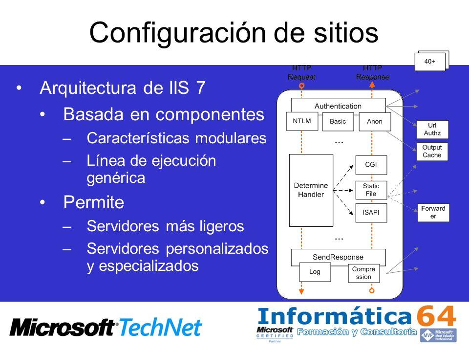 Configuración de sitios Arquitectura de IIS 7 Basada en componentes –Características modulares –Línea de ejecución genérica Permite –Servidores más li