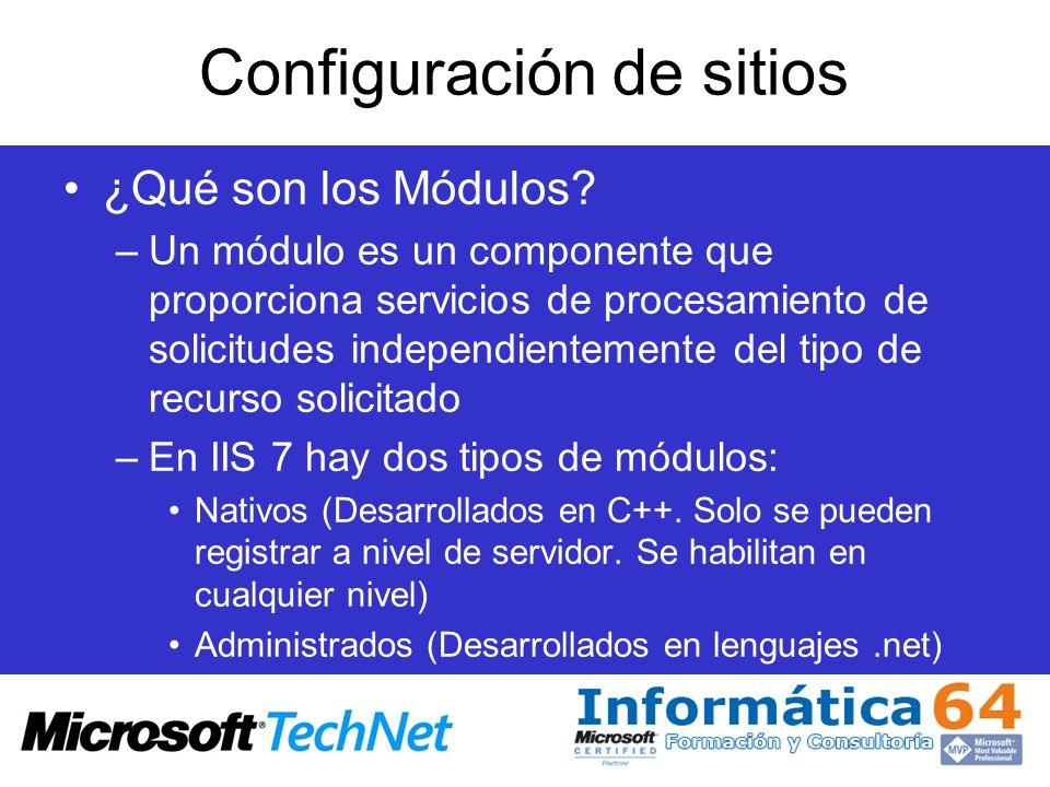 Configuración de sitios ¿Qué son los Módulos? –Un módulo es un componente que proporciona servicios de procesamiento de solicitudes independientemente