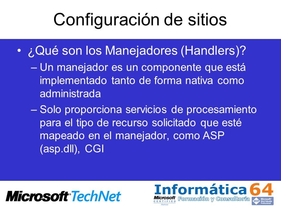 Configuración de sitios ¿Qué son los Manejadores (Handlers)? –Un manejador es un componente que está implementado tanto de forma nativa como administr