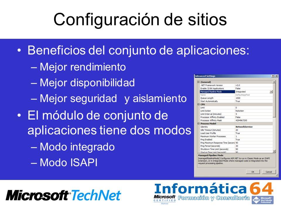 Configuración de sitios Beneficios del conjunto de aplicaciones: –Mejor rendimiento –Mejor disponibilidad –Mejor seguridad y aislamiento El módulo de