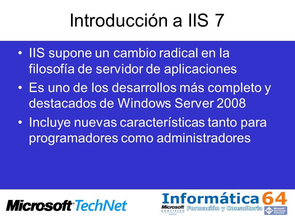 Configuración de sitios Registro de módulos en línea de comandos –Appcmd install module /name:string /image:string –Appcmd install module /name:ImageCopyrightModule /image:C:\%WINDIR%\system32\inetsrv\imageCopyrightM odule.dll Para habilitar un módulo: –Appcmd add module /name:string /app.name:string –Appcmd add module /name:ImageCopyrightModule /app.name:Default Web Site/