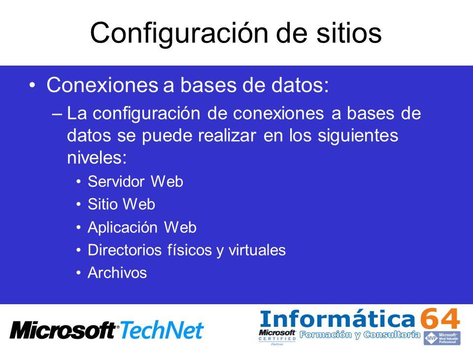 Configuración de sitios Conexiones a bases de datos: –La configuración de conexiones a bases de datos se puede realizar en los siguientes niveles: Ser
