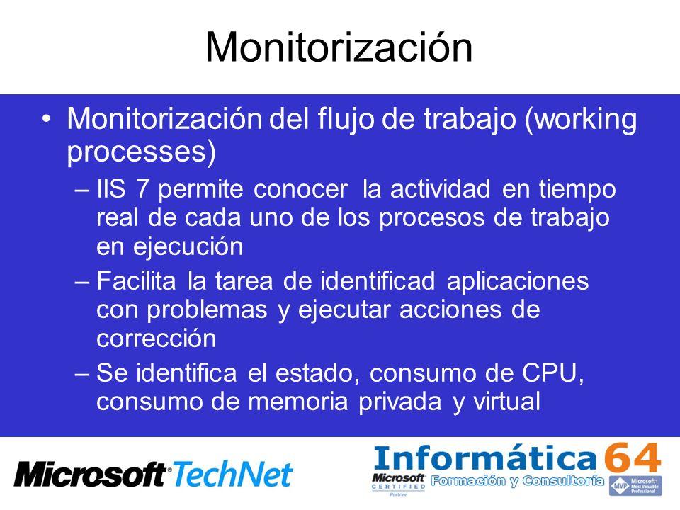 Monitorización Monitorización del flujo de trabajo (working processes) –IIS 7 permite conocer la actividad en tiempo real de cada uno de los procesos