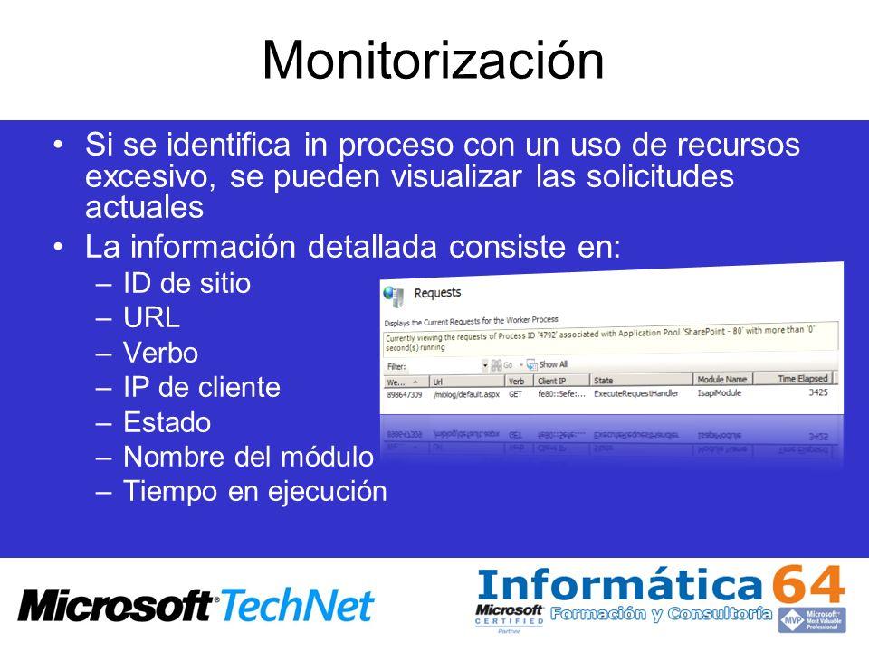 Monitorización Si se identifica in proceso con un uso de recursos excesivo, se pueden visualizar las solicitudes actuales La información detallada con