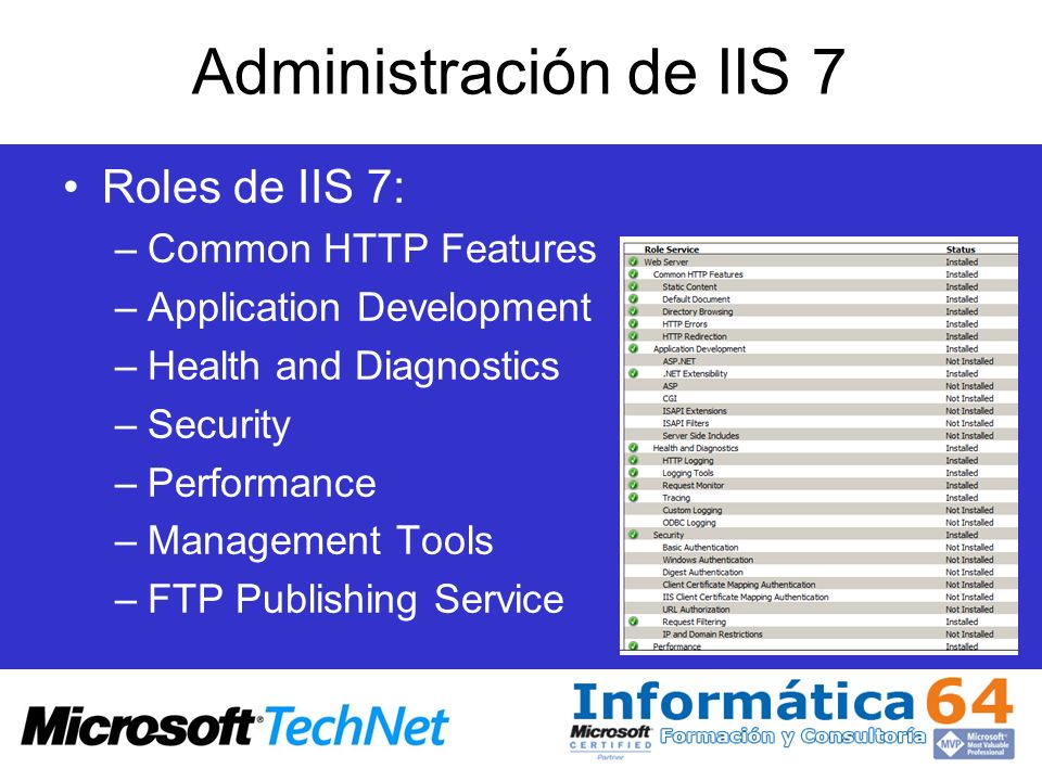 Administración de IIS 7 Common HTTP Features: –Static Content –Default Document –Directory Browsing –HTTP Errors –HTTP Redirection