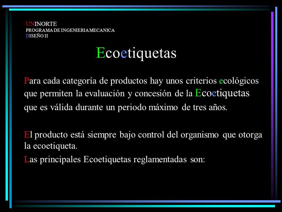 Ecoetiquetas Para cada categoría de productos hay unos criterios ecológicos que permiten la evaluación y concesión de la Ecoetiquetas que es válida du