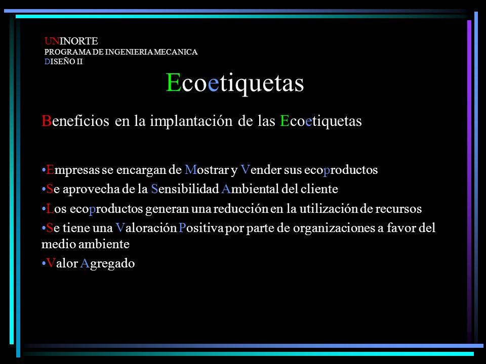 Ecoetiquetas Beneficios en la implantación de las Ecoetiquetas Empresas se encargan de Mostrar y Vender sus ecoproductos Se aprovecha de la Sensibilid