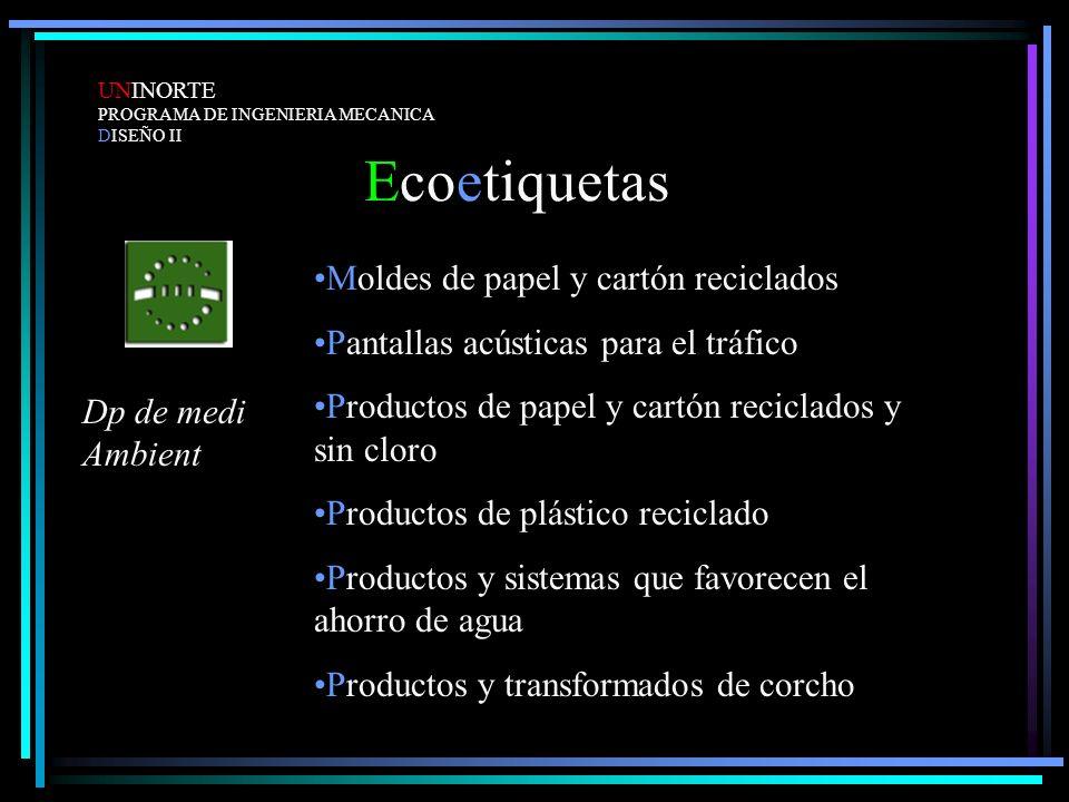 Ecoetiquetas UNINORTE PROGRAMA DE INGENIERIA MECANICA DISEÑO II Moldes de papel y cartón reciclados Pantallas acústicas para el tráfico Productos de p