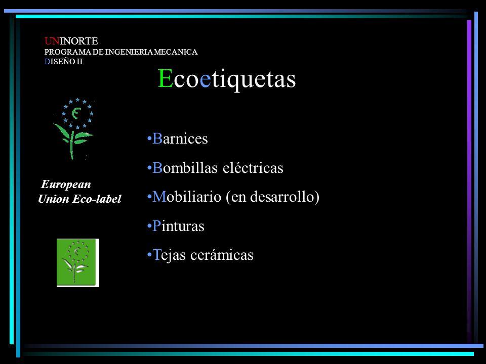 Ecoetiquetas UNINORTE PROGRAMA DE INGENIERIA MECANICA DISEÑO II Barnices Bombillas eléctricas Mobiliario (en desarrollo) Pinturas Tejas cerámicas Euro