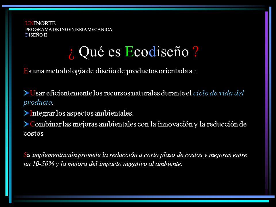 ¿ Qué es Ecodiseño ? Es una metodología de diseño de productos orientada a : Usar eficientemente los recursos naturales durante el ciclo de vida del p