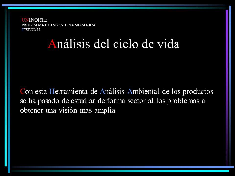 Análisis del ciclo de vida Con esta Herramienta de Análisis Ambiental de los productos se ha pasado de estudiar de forma sectorial los problemas a obt