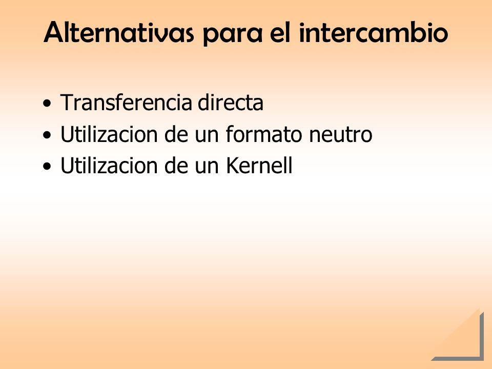 Alternativas para el intercambio Transferencia directa Utilizacion de un formato neutro Utilizacion de un Kernell