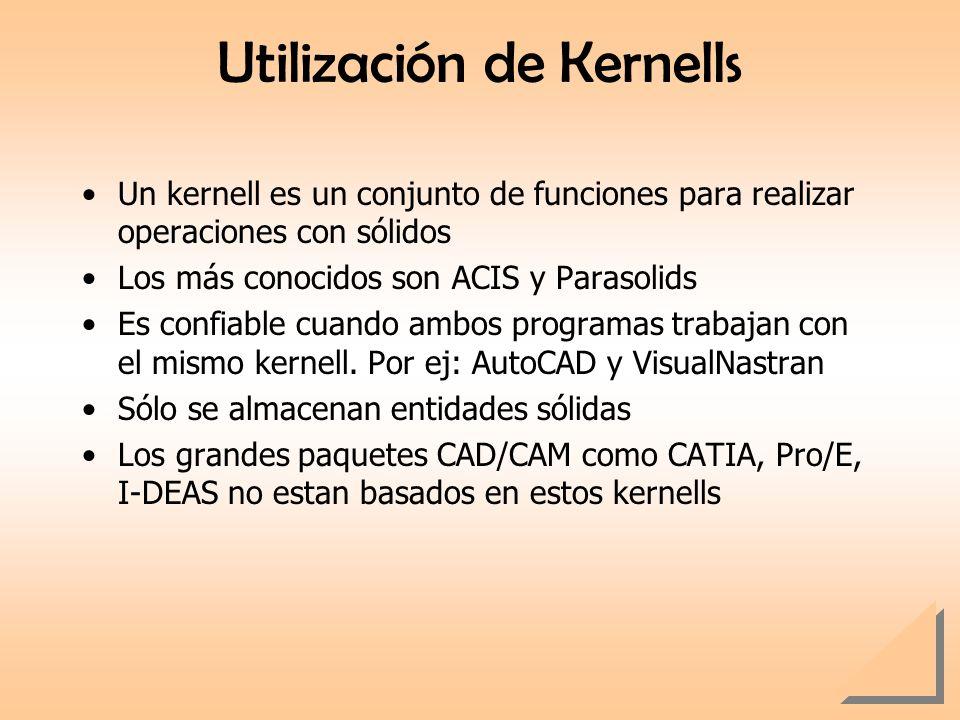 Utilización de Kernells Un kernell es un conjunto de funciones para realizar operaciones con sólidos Los más conocidos son ACIS y Parasolids Es confia
