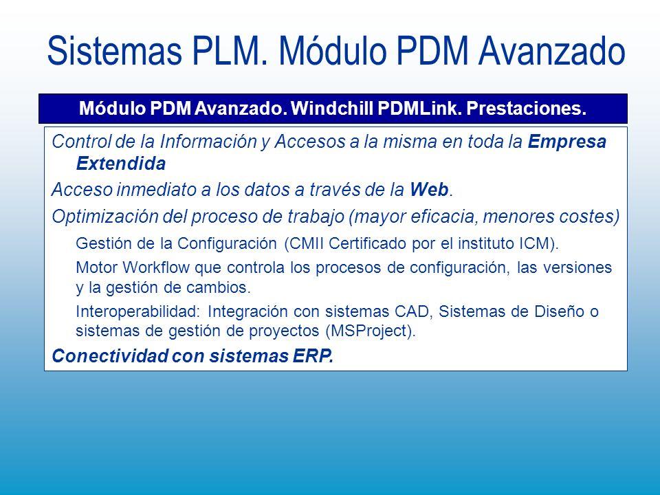 Sistemas PLM. Módulo PDM Avanzado Módulo PDM Avanzado. Windchill PDMLink. Prestaciones. Control de la Información y Accesos a la misma en toda la Empr
