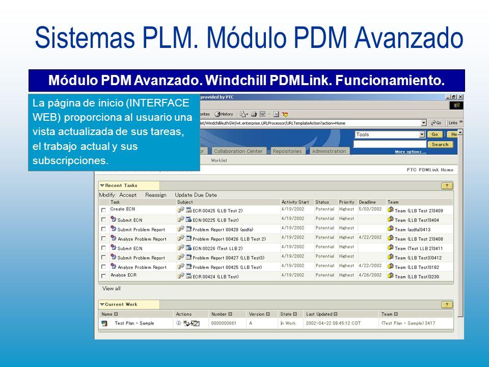 Sistemas PLM. Módulo PDM Avanzado Módulo PDM Avanzado. Windchill PDMLink. Funcionamiento. La página de inicio (INTERFACE WEB) proporciona al usuario u