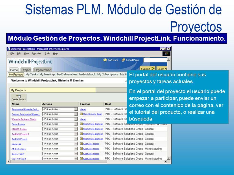 Sistemas PLM. Módulo de Gestión de Proyectos El portal del usuario contiene sus proyectos y tareas actuales. En el portal del proyecto el usuario pued