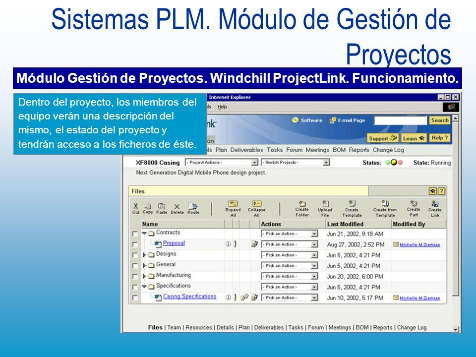 Sistemas PLM. Módulo de Gestión de Proyectos Dentro del proyecto, los miembros del equipo verán una descripción del mismo, el estado del proyecto y te