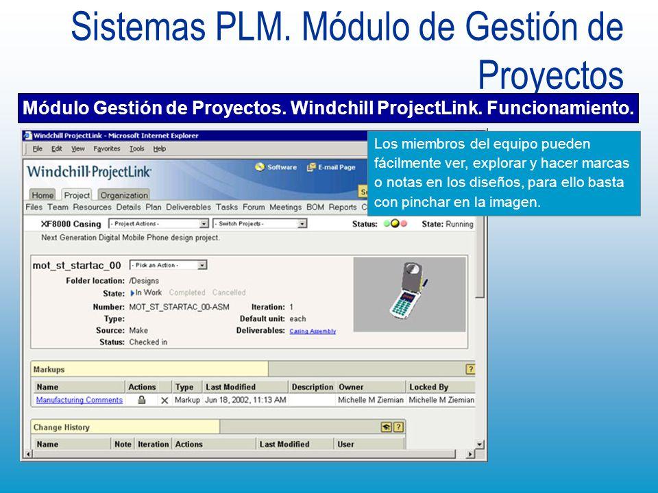 Sistemas PLM. Módulo de Gestión de Proyectos Módulo Gestión de Proyectos. Windchill ProjectLink. Funcionamiento. Los miembros del equipo pueden fácilm